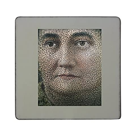 Hardboard square fridge magnet with Fuzzy portrait of a woman