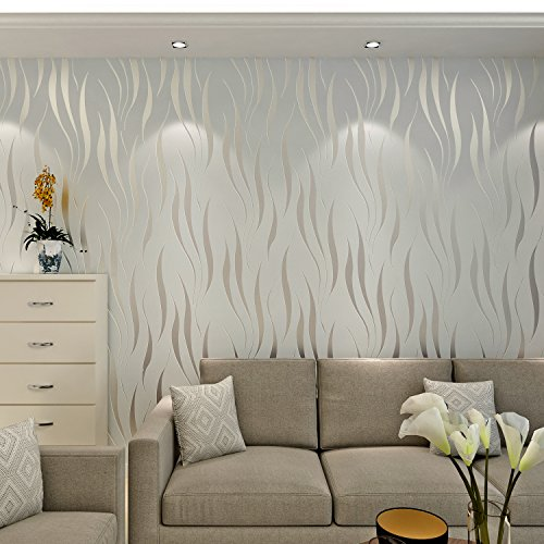 HANMERO® Modern Minimalist Non Woven Water Plant Pattern 3D Flocking  Embossed Wallpaper Roll For Living Room Bedroom Walls Siveru0026Grey ...