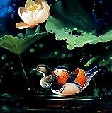 Zwei Mandarin Enten–Hohe Qualität Ölgemälde reprodution. basiert auf berühmten traditionellen chinesischen Realistische Malerei. Kostenloser Versand (ungerahmt und ungedehnt)., Same to the original, 52x52 IN.