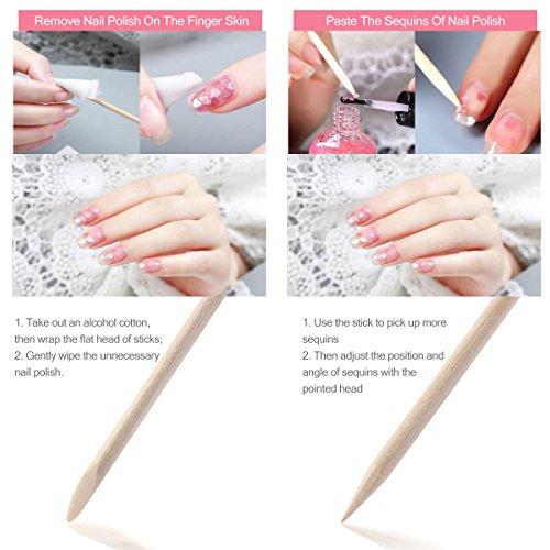 frcolor 100unidades uñas de madera varillas Quitacutículas Remover Manicura Pedicura Herramienta
