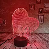 sanzangtang LED Nachtlicht-3D-sieben Farben-Fernbedienung kreative romantische Geschenk Liebe Licht Nachtlicht Farbverlauf Schreibtischlampe GeburtstagNachtlicht