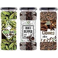 GreenFinity® Premium Black Pepper - 125g, Green Cardamom - 100g & Cloves 100g (Combo of 3).
