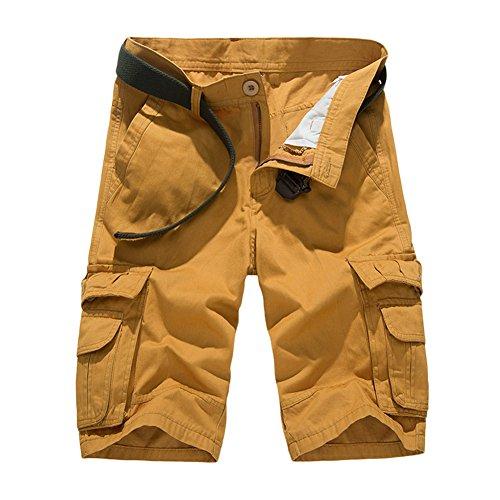 Mens Casual Slim Fit Cotton Solid Multi-Pocket Cargo Shorts Combat Shorts Gym Half Pants