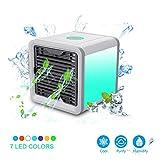 Condizionatore Portatile, Mini Raffrescatore Evaporativo Umidificatore Purificatore D'aria USB 3-in-1 Climatizzatore con Raffreddamento ad Acqua per Casa/Ufficio/Camper/Garage