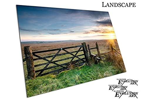 Wooden gate Moorland on Bodmin Moor in Cornwall - Roll Up Banner Textured Size A2