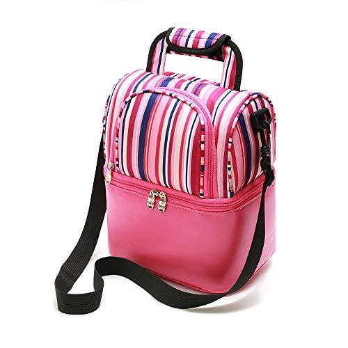 Borsa termica pranzo con tracolla borsa porta pranzo 9l per la scuola lavoro picnic, rosa