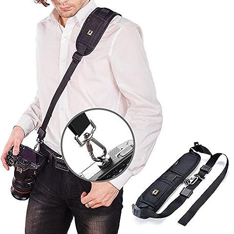 GOMAN Kameragurt Kamera Schulterriemen Schnellverschluss Neopren Kamera Tragegurt Schultergurt Gurt für Canon Nikon Sony Fujifilm Olympus DSLR SLR - Schwarz