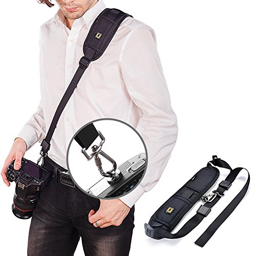 GOMAN Kameragurt Schultergurt Schnellverschluss Neopren Kamera Tragegurt Schultergurt Gurt für Canon Nikon Sony Fujifilm Olympus DSLR SLR - Schwarz Test
