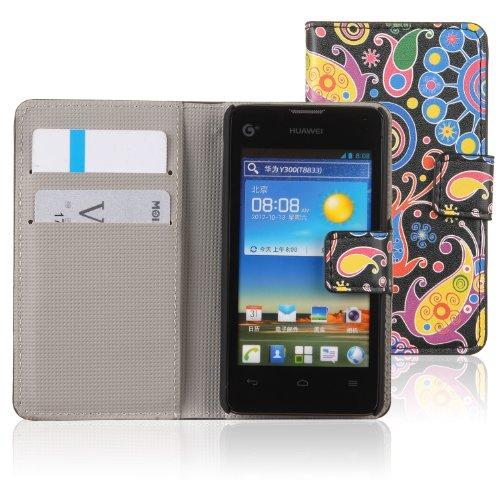 tinxi® Kunstleder Tasche für Huawei Ascend Y300 Schutzhülle Flip Case Standfunktion mit Karten Slot bunte Qualle