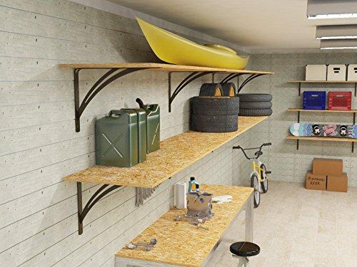 Ve.ca-italy mensola da garage in legno truciolare spessore 2 cm belle e resistenti incluse staffe per carichi pesanti fino a 150kg diverse misure (180 cm x40 cm)