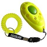 DOGSLINE Profi Clicker mit Spiralarmband für Clickertraining, neon gelb, DL07PS