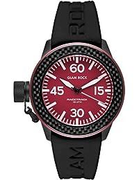 Glam Rock Damen Racetrack 40mm schwarz Silikon Band IP Stahl Fall Quarz Red Dial Armbanduhr grt29003F-n