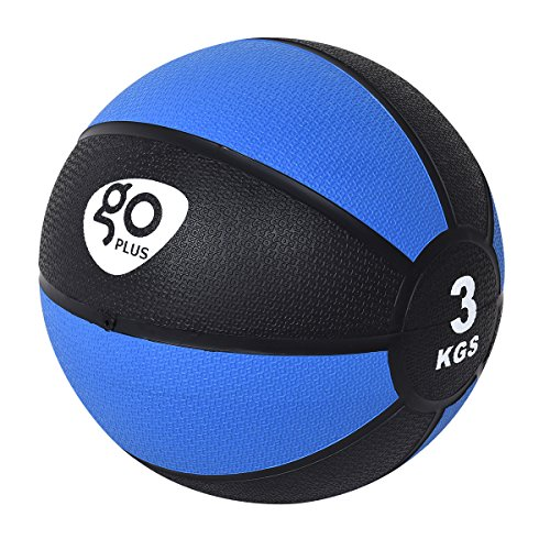 Goplus Medizinball Gummimedizinball Gewichtsball Gymnastikball Fitnessball Gewicht 2-10kg (3 kg/φ22cm)