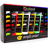 Colore Set di colori acrilici – Kit professionale per dipingere su tele, creta, tessuto, nail art e ceramica – Ideale per bambini e adulti – 12 tubetti extra large da 75 ml
