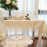FADFAY Home Textil, (Off White Tischdecke, Spitze, Blumenmuster, zartes Esstisch, moderne Round.Square.Rectangle Home Choice Tischdekoration, Polyester, beige, Size:110*160cm
