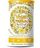Vegan Protein | VANILLE | Pflanzliches Proteinpulver mit Reis-, Hanf-, Soja-, Erbsen-, Chia-, Sonnenblumen- und Kürbiskernprotein + Verdauungsenzymen | 600 Gramm Pulver