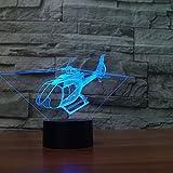 Kreative 3D Hubschrauber Nacht Licht 7 Farben Andern Sich USB Adapter Touch Schalter Dekor Lampe Optische Täuschung Lampe LED Lampe Tisch Kinder Brithday Weihnachten Geschenke