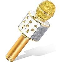 Tonor Bluetooth Karaoke Mikrofon mit Lautsprecher; Multifunktionell Tragbar Drahtlos Microphone für Karaoke Party Sprach- und Gesangsaufnahmen, kompatibel mit Android /IOS PC Laptop Gold