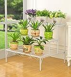 ZENGAI Leiter Blumentreppe Blumenregal Blumenständer Metall Drinnen und draußen Fett gedruckt Stufenständer Anti-Rost Eisenprodukt, 3 Farben (Farbe : Weiß)