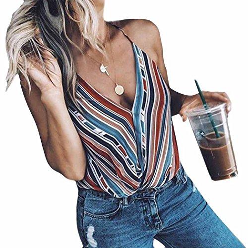 Bovake Womens Fashion Stripe Bluse Weste Mode ärmelloses T-Shirt Frauen Casual Gestreiften Patchwork Button Verziert Gestreiften Tank Top Bluse (Tarnung, S) - Seide Tank-kleid Verziert