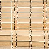 ZEMIN Bambusrollo Jalousette Schattierung Sonnenschutz Innen/Außen Installieren Anpassbar Atmungsaktiv Anti-Infrarot Handhebend, 2 Farben, PVC (Farbe : Log, Größe : 100x200CM)