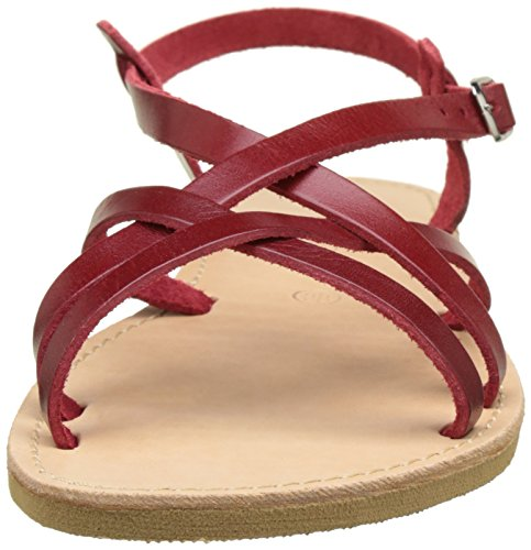 THELUTO Valentine, Sandales Bout Ouvert Femme Rouge (Rouge)