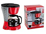 Cafetera con jarra de cristal (1,5litros (Cafetera para aprox. 12tazas, placa calentadora, 800W), color rojo y negro
