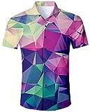 Goodstoworld Camicia Hawaiana da Uomo Estiva Fiori Tropicale 3D Stampa Manica Corta Chicco Trekking Camicie Shirt Geometria Colorata