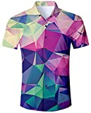 Goodstoworld Kurzärmlige Hemd Herren Kurzarm Hemden Männer Hawaiihemd Slim Fit Sommer Bunt Geometric Outdoor Kurzarmhemd