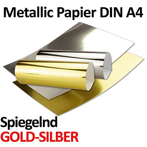 Metallic Spiegel Papier | 20er-Set | Blanko glänzendes metallic Papier, GOLD | SILBER | GEMISCHTES SET | Rückseite Weiß und Bedruckbar | DIN A4 210 x 295 mm | GUSTAV NEUSER C-Line