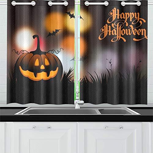 JIUCHUAN Halloween-Nacht verschwommen Kürbis Kalligraphie Küchenvorhänge Fenster Vorhangebenen für Café, Bad, Wäscherei, Wohnzimmer Schlafzimmer 26 X 39 Zoll 2 Stück (Halloween Party-oktober 26)