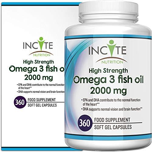 Omega 3 Ergänzung 1000MG hochwirksame 365 weiche Kapseln (1 Jahresvorrat) GELD-ZURÜCK-GARANTIE Hergestellt im Vereinigten Königreich - Kurbelt das Immunsystem an, unterstützt Gelenke und gesunde Haare - Fischöl/Lebertran - DHA + EPA -Omega 3 6 9 - Omega 3 Fettsäuren - Hergestellt im Vereinigten Königreich