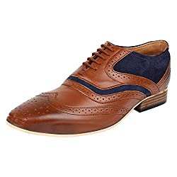 Lujo Entreaty handmade Brogue Shoes - Tan/Blue