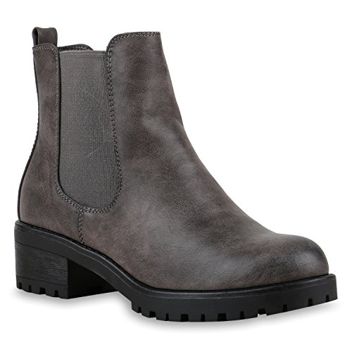 Stiefelparadies Stiefeletten Damen Chelsea Boots Profilsohle Blockabsatz Leder-Optik Booties Schuhe 122864 Grau 36 Flandell