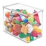 mDesign Organizador de juguetes con tapa - Cajas de almacenaje para guardar juguetes bajo la cama o en las estanterías de la habitación infantil - Juguetero de plástico transparente