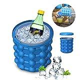 Ice Genie Cube Maker, Lecksicher Design Super Groß Silikon 2in 1Eiskübel und Form, Revolutionäre platzsparend mit Deckel Silikon Ice Cube Tabletts Formen