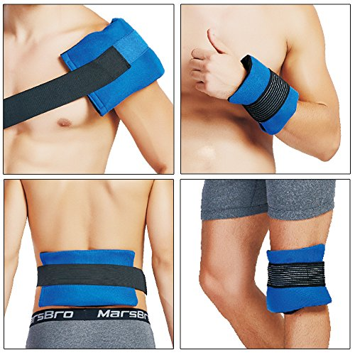 Erste-Hilfe kalt & warm Kompresse für Rücken/Knie-Schulter Knöchelverletzungen - Wiederverwendbar Mikrowellengeeignet Eisbeutel mit Klettbandage für Heiß / Kalttherapie, - Größe :11''*5.9'',2 Packu
