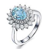 KnSam 925 Sterling Silber Trauringe Silberring für Damen Topas rhodiniert Zirkonia Antragsring Jahrestrag Ringgröße 59 (18.8) Modeschmuck
