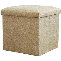 Preisvergleich für Lagerung Hocker LXF Klappspeicher Osmanische Bank Leinen Stoff Hocker Sitzfläche Platzsparende Cube Organizer Einziehbare Aufbewahrungsbox (Farbe : Beige, Größe : 30*30*30cm)