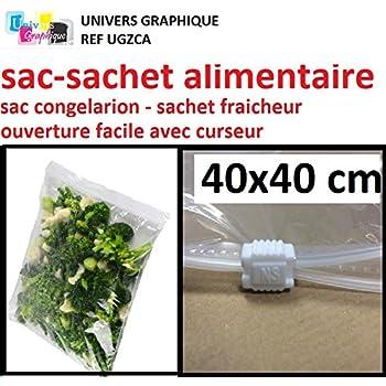 Lot de 10 sac cong lation grand sachet alimentaire a curseur 40 x 40 cm sachet pour - Conservation plat cuisine ...