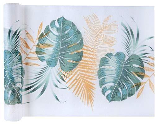 Miss Lovely Tisch-Läufer/Tisch-Decke Nature Tropical mit Blättern weiß & grün/Tisch-Dekoration/Tisch-Wäsche Vlies Motto-Party Dschungel Sommer-Party 1 Rolle = 5 Meter