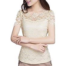 ZANZEA Mujeres Casual Elegante Blusa Camiseta Escote Ilusión Fantasía Mangas Cortas Encaje