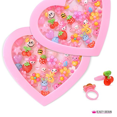 36x Anillos Luxury infantil de joyas Corazón Buzón ajustable tamaño