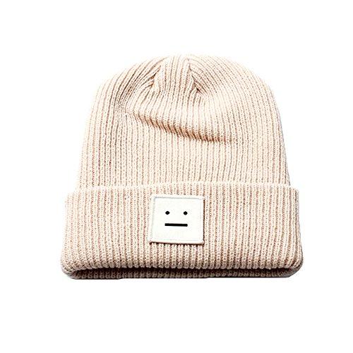 Accessoryo - Unisex beige Mütze Hut mit gesticktem Smileyentwurf - Gestickt Kabel