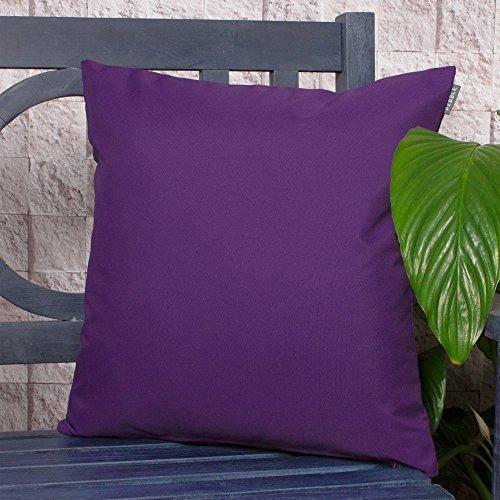 Gartenkissen Sitzpolster – 43cm x 43cm – Wasserabweisend mit einer Textilfaserfüllung – Dekoratives Zierkissen für Gartenbänke, Stühle oder Sofas (2, Violett)