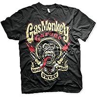 Gas Monkey Garage Spark Plugs Blood Sweat Beers Licensed Mens Black T-shirt