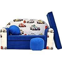 Preisvergleich für PRO COSMO C22Kinder Sofa Bett mit Puff/Fußbank/Kissen, Stoff, Blau, 168x 98x 60cm