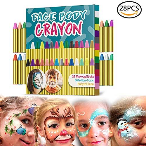 Gesichtsfarben Kinder, Muscccm 28 Farben Gesicht Malen Buntstifte, Ungiftig Körperbemalung Sticks Körper Tattoo set Buntstifte Kit für Kinder, ()