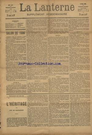 LANTERNE (LA) [No 97] du 06/06/1886 - SALON DE 1886 PAR TESSIER - LE MARI DE LA VICTIME PAR VAUCAIRE - LE MARIAGE DE CLAUDE PAR LANCELIN - LA SANTE PUBLIQUE PAR LE DR MARC - FEUILLETON / L'HERITAGE PAR DE MAUPASSANT