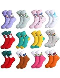 Rovtop 12Pares Calcetines de Niñas, Calcetines de Algodón para Niños de 5 a 10 Años, Calcetines Navideños de Animados Bonitos, Unicornios, Calcetines con Patrón de Sirena